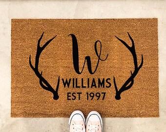 Captivating Antler Door Mat Antler Doormat Deer Door Mat Country Decor Country Doormat