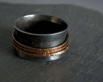 Silver and gold spinner ring / fidget spinner / meditation ring / silver and gold / anxiety ring / fidget ring / 14k GF jewelry / gift
