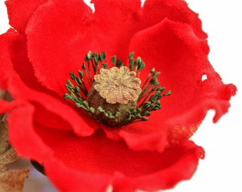 READY to SHIP red poppy flower buttonhole, red poppy corsage, velvet flower, poppy brooch, poppy pin, poppy jewelry, hostess gift