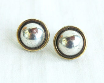 Mexican Earrings Vintage Sterling Silver and Brass Domes Mixed Metal Minimalist Jewelry Made in Mexico Laton