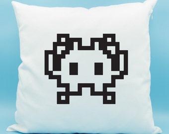 Alien Monster Emoji Pillow - Space Invader Emoji Pillow - Alien Arcade Video Game Emoji Cushion - Alien Monster Cushion - Alien Pillow
