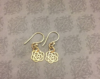 small rose earrings- BREATHE BRAVELY- Cystic Fibrosis Research- 65 roses- sINgSPIRE- Donation to CF- Support cf