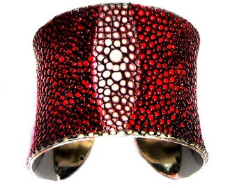 Red Metallic Genuine Stingray Cuff Bracelet - VERTICAL CENTER CUT