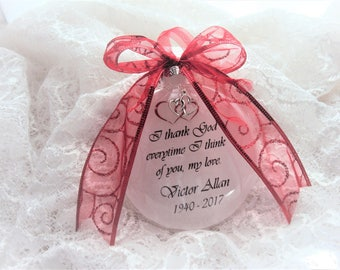 Memorial Ornament for Loved One, I thank God Everytime I Think of You, Double Heart Charm