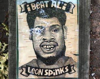 I Beat Ali: Leon Spinks. Ink on birchbark, 5x7.