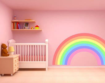 PASTEL RAINBOW Wall Sticker Decal Plain Childrenu0027s Bedroom Nursery Car Art  Vinyl Graphic Mural 2 Sizes