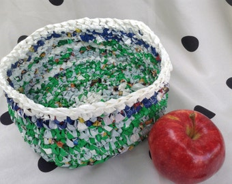 Plarn Basket in green and blue with White Border