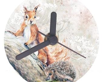 Metal Desk clock, Squirrel and Hedgehog