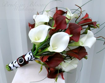 Wedding Bouquet - Red white calla lily Bridal bouquet - Damask wedding real touch wedding flowers