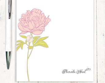 personalized notePAD - PRETTY PEONY - stationery - stationary - flower - floral - botanical