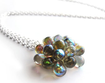 Grey statement necklace, Grey Berry Necklace, Gray Glass Cluster Necklace, Grey Pendant Necklace, Bridesmaid Gift, Wedding Jewelry