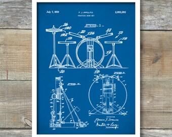 Drum Set Poster, Patent Prints, Drum Set Patent, Drum Set Print, Drum Set Art, Drum Set Decor, Drum Set Wall Art, Drum Set Blueprint, P129