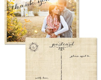 Linen Wedding Postcard