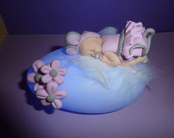 Great night light led, pink polymer clay baby, birth, birthday gift, baptism...