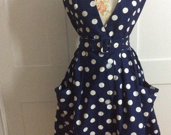 1950's Polka Dot Navy Vintage Dress