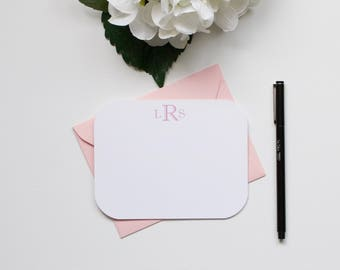 Personalized Stationery, Monogram Stationery, Custom Stationery, Flat Notecards, Rounded Corner Stationery
