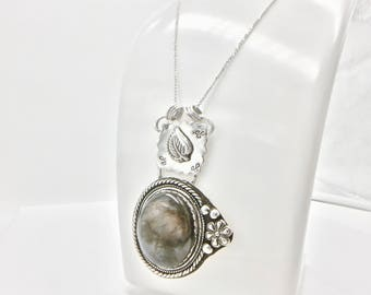 Labradorite necklace- statement necklace- sterling silver necklace - long necklace- silver pendant necklace- 1920's inspired