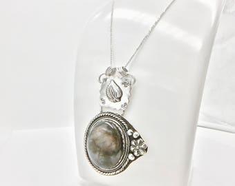 Labradorite necklace- statement necklace- sterling silver necklace - long necklace- silver pendant necklace- 1920's inspired