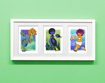 Mermaid 5x7 Set 2 of 3, Mandarin Fish, Blue Tang, Clown Fish, mermay print, mermaid art, nursery art, cute print, ocean print