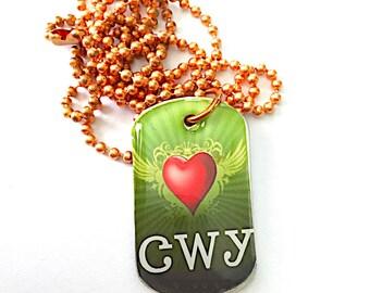 I Heart Cherokee Brag Tag Necklace Tsalagi Cherokee Made