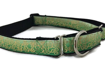 St Patricks Dog Collar, Gold Swirl Shamrocks, 1 inch wide, adjustable, quick release, metal buckle, chain, martingale, hybrid, nylon