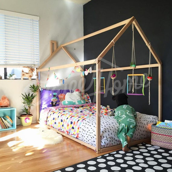 Toddler Bed House Bed Children Bed Wooden House Tent Bed