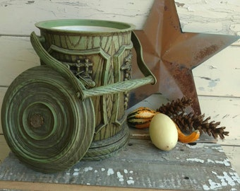 Vintage Olive Green Ice Bucket - Mid Century Barware, Green Ice Server, Grape Motif, Handled Ice Carrier, Part Drink-Ice Bucket, Mod Barware