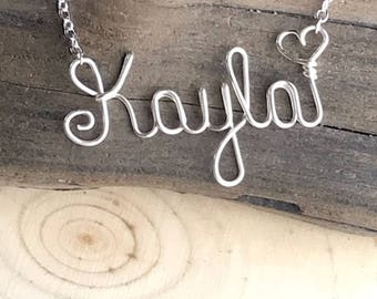Personalized name necklace, wire word jewelry, wire name necklace, custom, gifts under 20, Mothers Day gift