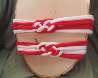 Red and White Celtic Knot Recycled T-Shirt Headband