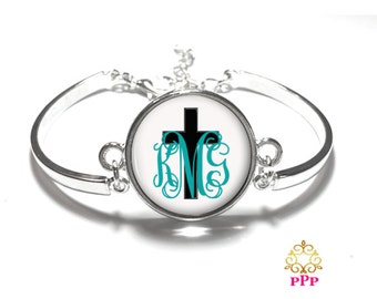 Black Cross Monogram Bracelet, Monogram Bangle, Monogram Jewelry, Bridesmaid Gift, Personalized Bracelet - Style 414