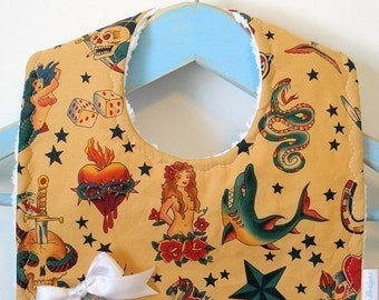 Retro Tattoos on Gold - Minky Baby Bib
