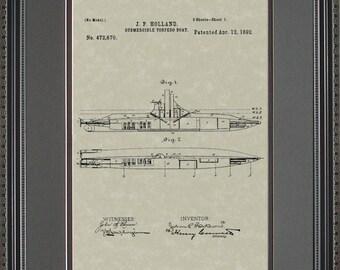 Submarine Patent Artwork Military Naval Navy Gift H2670