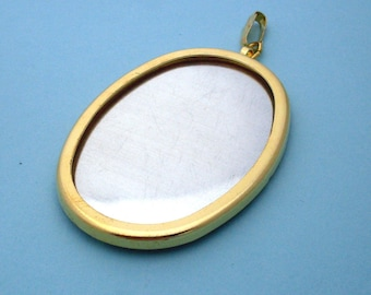 Gold Tone Oval Pendant Setting Frame Mounting 134GT