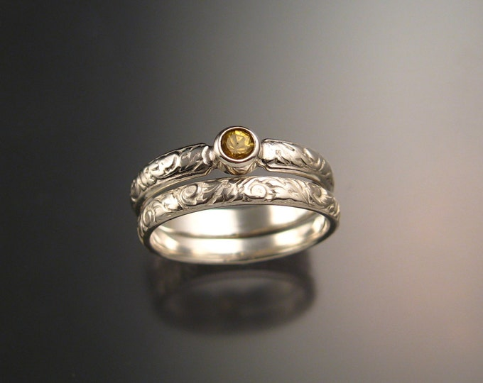 Golden Sapphire Wedding set 14k White Gold Victorian bezel set canary Diamond substitute Natural stone ring made to order in your size