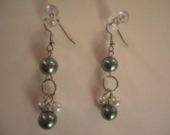 Green and White pearl Dangled Earrings
