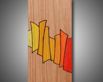 "3.5"" x 7"" - ""Hesitation"" - Art for a small space - original abstract modern art - wood burned colored with Prismacolor pencil - art on wood"