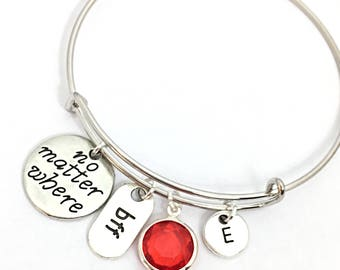 Personalized Distance Friendship Bracelet, No Matter Where Bracelet, Bangle Bracelet, BFF Bracelet Jewelry, Quote,Distance Friend, BFF Gift