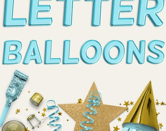 Aqua Balloon Letters Clipart, Uppercase Aqua Foil Balloons Alphabet, Birthday Party, Wedding, Baby Shower Decoration, Invites, BUY5FOR8