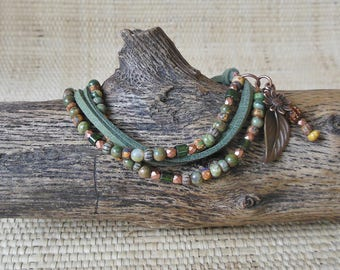 Boho Bracelet: Green Rhyolite & Copper/Ultrasuede/Beaded Bracelet/Sundance Style/Vegan Bracelet/Gift for Her/Unique Jewelry/OOAK