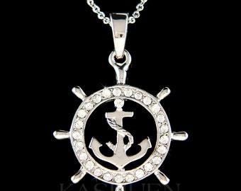 Swarovski Crystal Nautical Yacht Club ANCHOR Wheel Sailing Boat Cruise Ship Ocean Charm Necklace Vacation Honey Moon Souvenir Christmas Gift