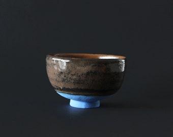 Stoneware Bowl Chawan Blue Brown Schwaz. Soup bowl, tea bowl.