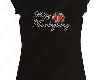 "Women's Rhinestone & Rhinestud T-Shirt "" Happy Thanksgiving with Pumpkin "" in S, M, L, 1x, 2x, 3x"