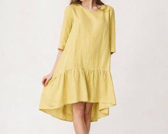 Yellow Linen Dress Boho Dress Lounge wear Tunic