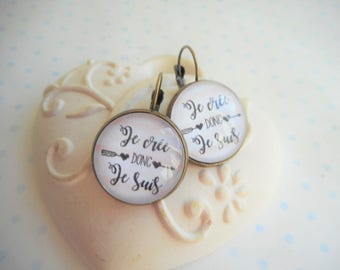 "Earrings cabochon glass 20 mm ""I create so I am"" sleepers bronze, white, pink, humor, optional gift box"