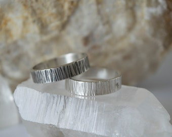 Sterling Silver Tree Bark Ring | Silver Bohemian Rings | Bohemian Jewelry | Silver Ring Set | Unique Engagement Rings