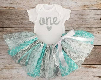 Aqua/Blue and Silver Birthday Outfit, Sparkly Aqua and Silver First Birthday, Aqua/Blue and Silver Fabric Tutu