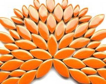 Popsicle Orange Glazed Ceramic Petal Leaves Mix (35-40)//Mosaic Supplies//Mosaic Pieces//Crafts//Mosaic Tiles
