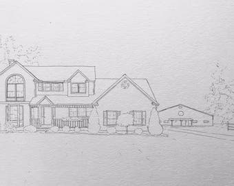Line Drawing Of Your House : Custom house drawing etsy