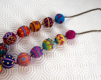 Multicolor necklace, wool, felted wool beads, wool felted and embroidered, tassel, wool PomPoms