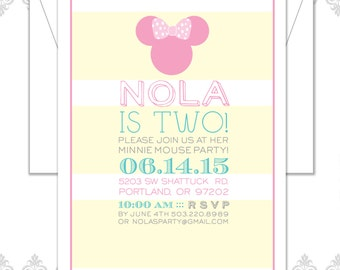 Minnie Mouse Birthday Invitation, Minnie Mouse Modern Party, Mickey Mouse Invite, Minnie Mouse Bow, Pink Minnie Mouse Silhouette, Striped